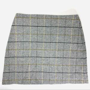 Dresses & Skirts - Plaid Mini Skirt Wool Blend Grey Pockets Large